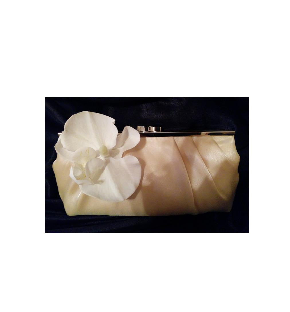 Satin Beige Floral Clutch
