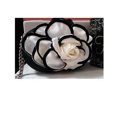Cream and Black Floral Mini Purse