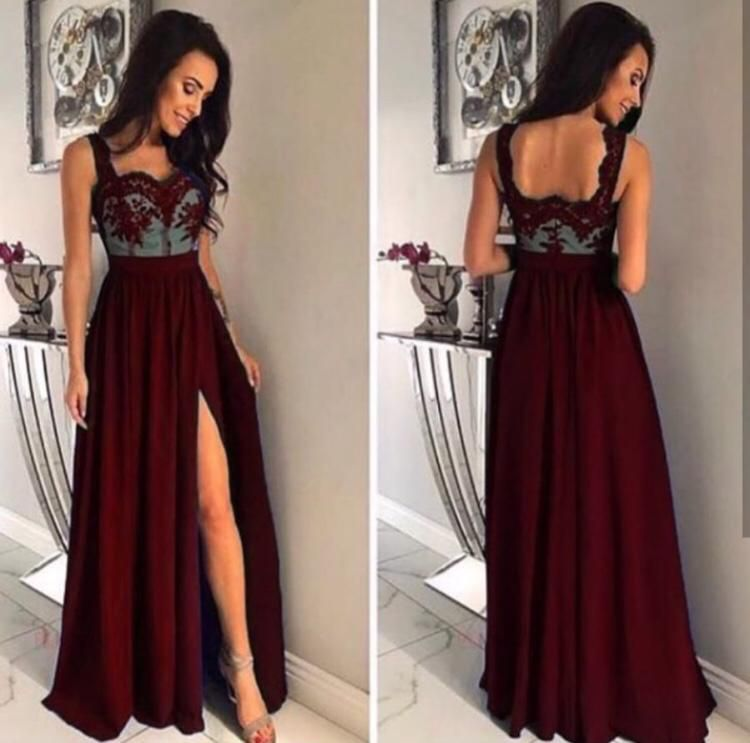 Top Lace-Side Slit Evening Dress