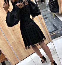 Load image into Gallery viewer, Knee Length Bell Sleeves Polka Dot Lace Dress