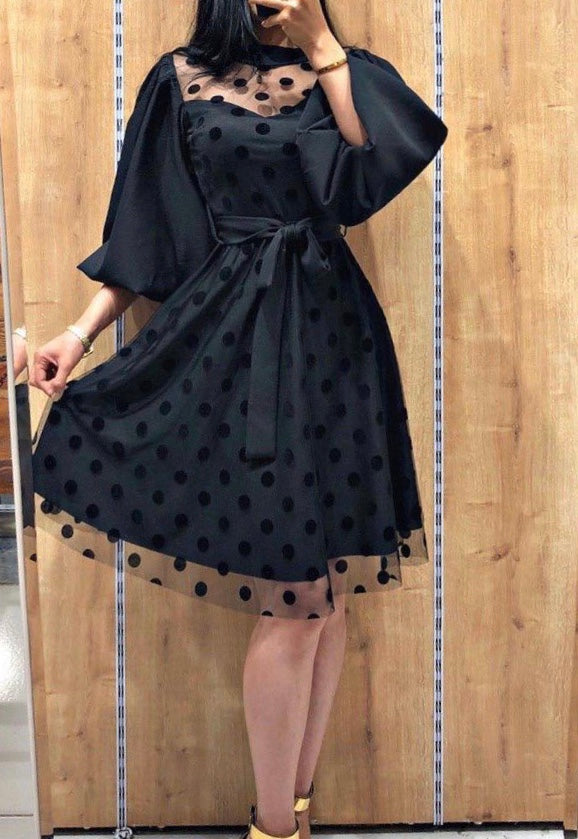 Knee Length Bell Sleeves Polka Dot Lace Dress