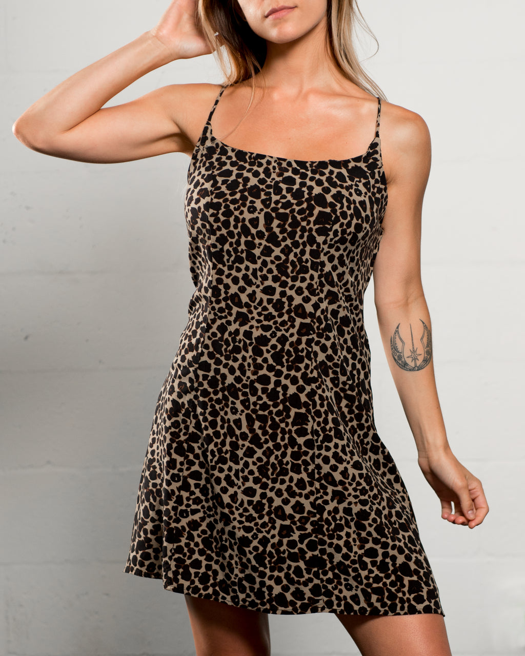 Alanis Lace Up Slip Dress Leopard