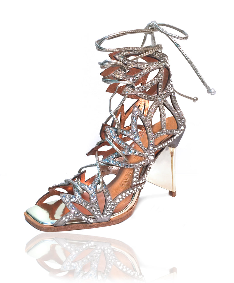 "Stardust metallic kid suede, Lace up gladiator sandal, laser cut floral pattern, clear swarovski crystals, wedding shoes, bridal shoes, crystal shoes, sparkly shoes, bride to be, 4"" heel or 100mm heel."