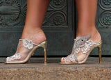 "Champagne nude mesh mules, floral embroidery, swarovski crystal hummingbird, gold mirror 4"" heels or 100mm heels, wedding shoes, wedding heels, bridal shoes, bridal heels, bride to be."