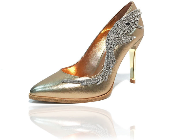 "Metallic gold calf leather pointed toe pump featuring asymmetrical Swarovski crystal hummingbird ornament, natural leather welt and gold mirror 4"" or 100mm heel."