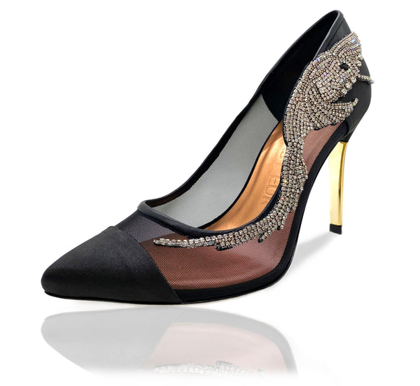 "Aubree pointed toe pumps in black satin and mesh featuring a Swarovski crystal hummingbird ornament, black satin toe cap, black calf leather binding and and a gold mirror 4"" or 100mm heel."