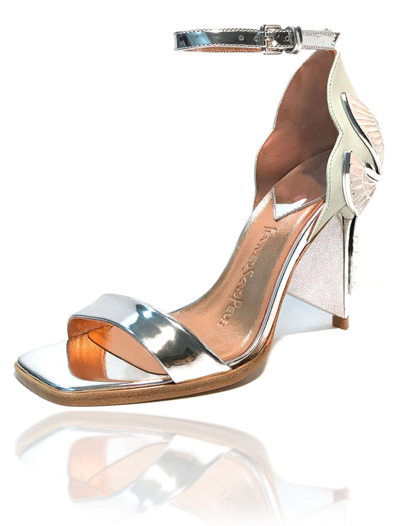 "Signature Aurora Dragonfly Queen sandals in mint baby calf leather and silver mirror leather, a square toe, black leather welt, adjustable buckle ankle strap, silver mirror extended heel breast and Swarovski crystals in her tail with gold 4"" or 100mm heel."