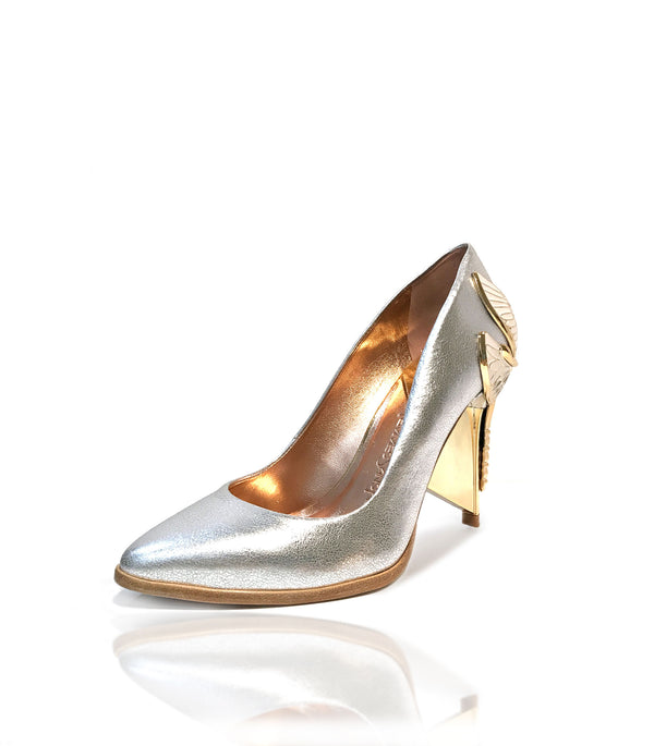 "Signature Aurora Dragonfly Queen pumps in metallic silver baby calf leather with pointed toe, natural leather welt and Swarovski crystals in her tail with gold 4"" or 100mm heel."