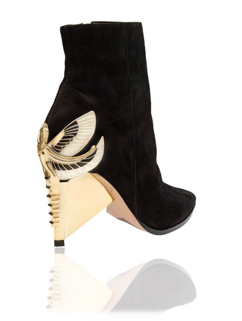 "Signature Aurora Dragonfly Queen ankle bootie in black kid suede with pointed toe, a hidden inside zipper and Swarovski crystals in her tail with gold 4"" or 100mm heel."