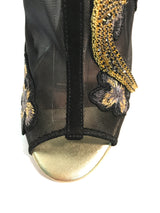 "Black mesh mules, floral embroidery, swarovski crystal hummingbird, gold mirror 4"" heels or 100mm heels."