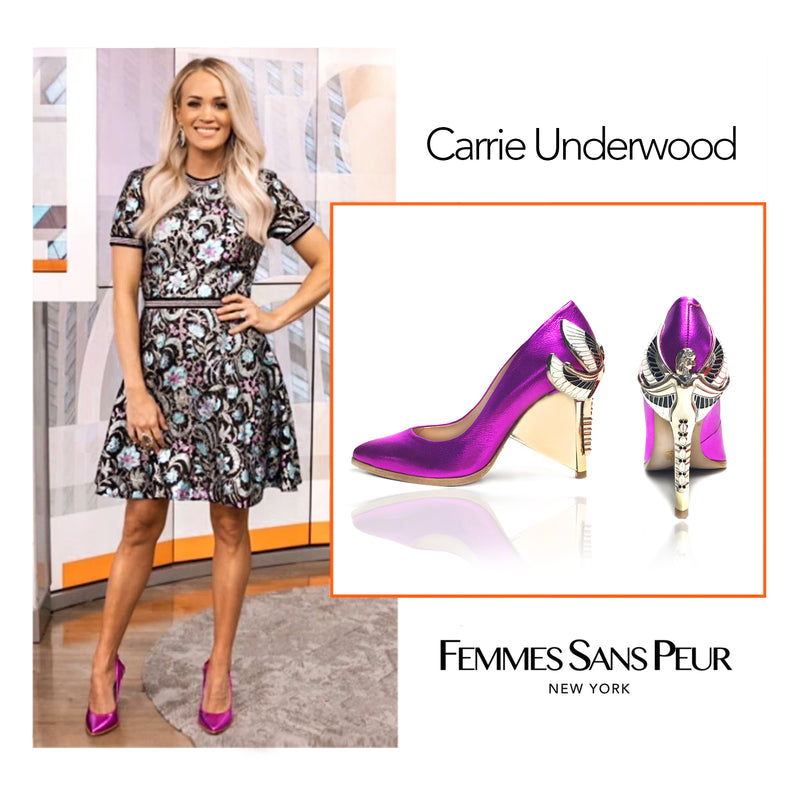 "Carrie Underwood on The Today Show in Femmes Sans Peur Signature Aurora Dragonfly Queen pumps in metallic fuchsia baby calf leather with pointed toe, natural leather welt and Swarovski crystals in her tail with gold 4"" or 100mm heel."