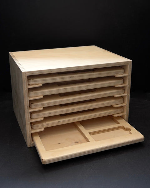 three part card tray-cabinet