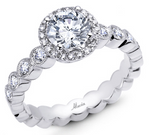 18k White Gold Halo Engagement Ring - Round a043