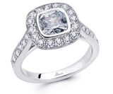 18k White Gold Halo Engagement Ring -  045
