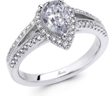 18k White Gold Engagement Ring - Pear Shape