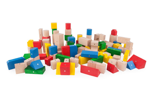 Kooglo Mega Set – Coloured 100pcs Wooden and Magnetic Blocks