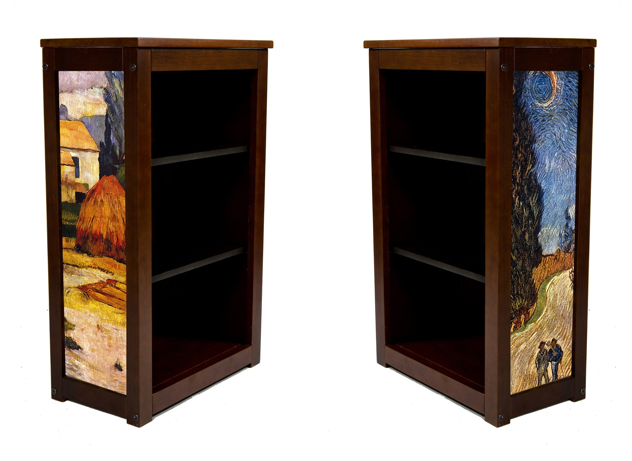Book Cabinet with Arles and Cypress Road  by Gauguin and Van Gogh