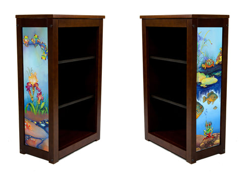 Book Cabinet-3 Shelf-Frog,Turtles,Flowers, Fish, Oh My- Art by McKee