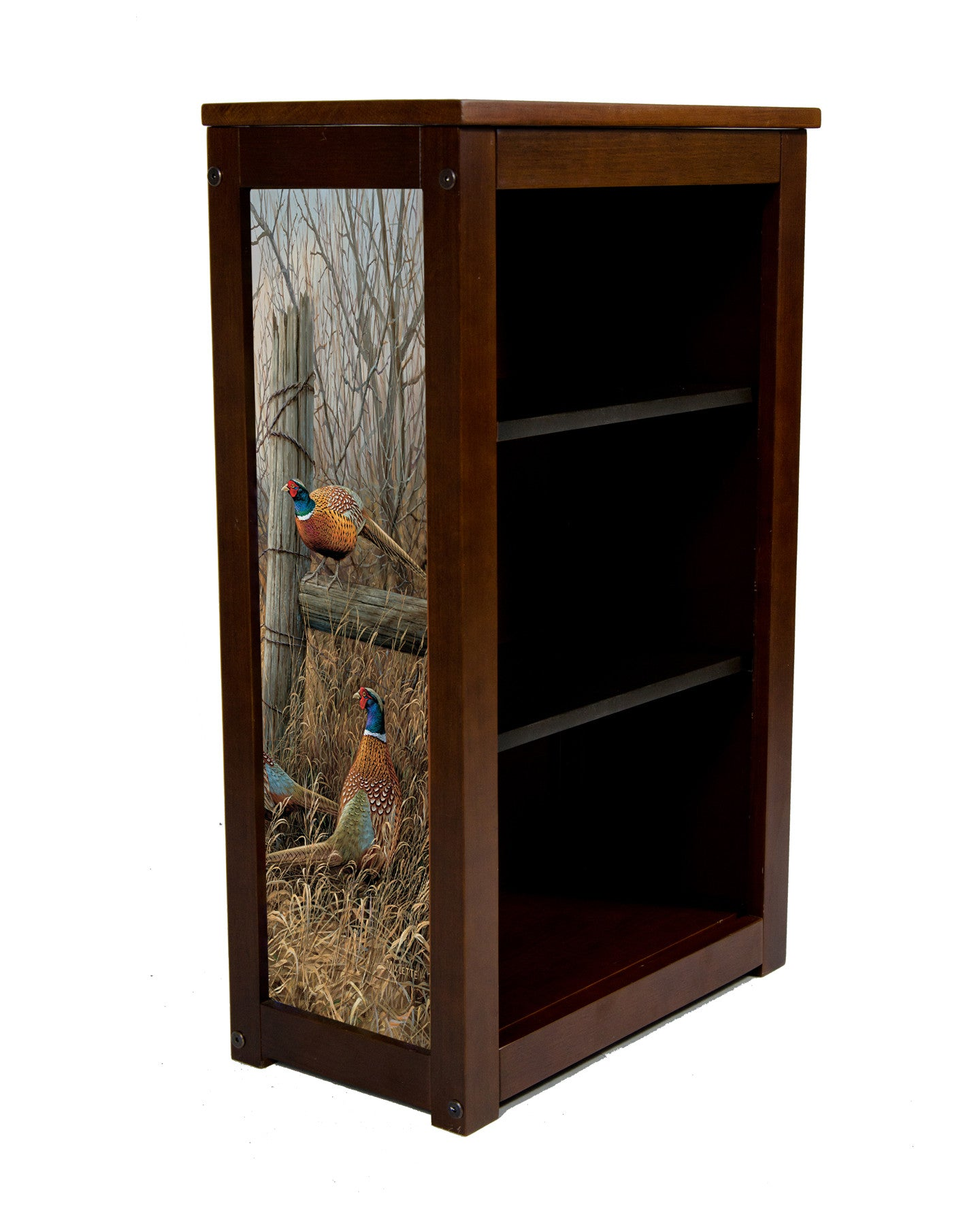 Pheasant Book Cabinet  Abandoned Fenceline - Art by Rosemary Millette