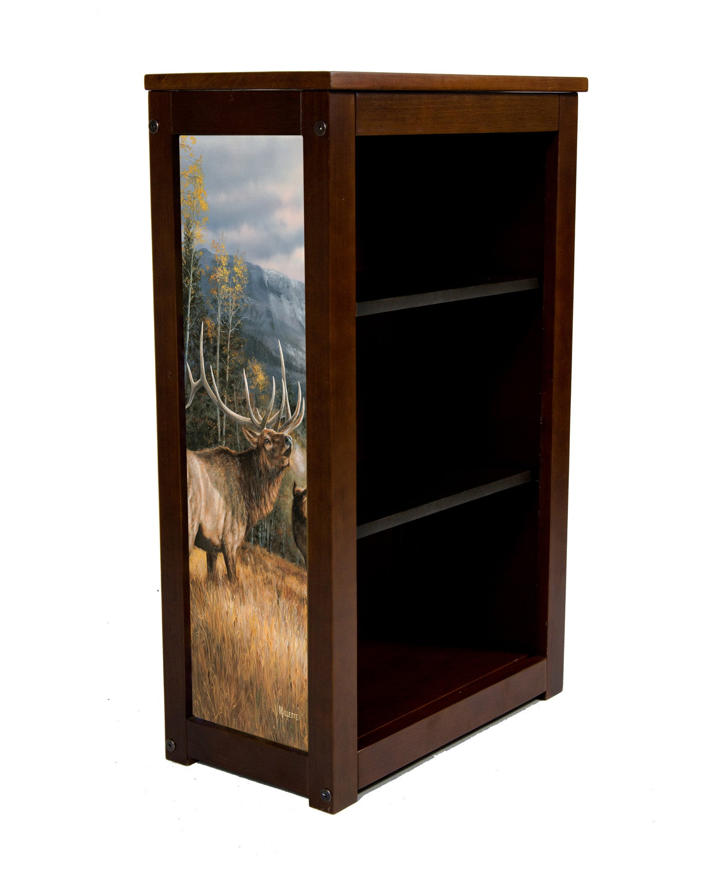 Rocky Mountain Elk Book Cabinet Meadow Music-Art By MIllette