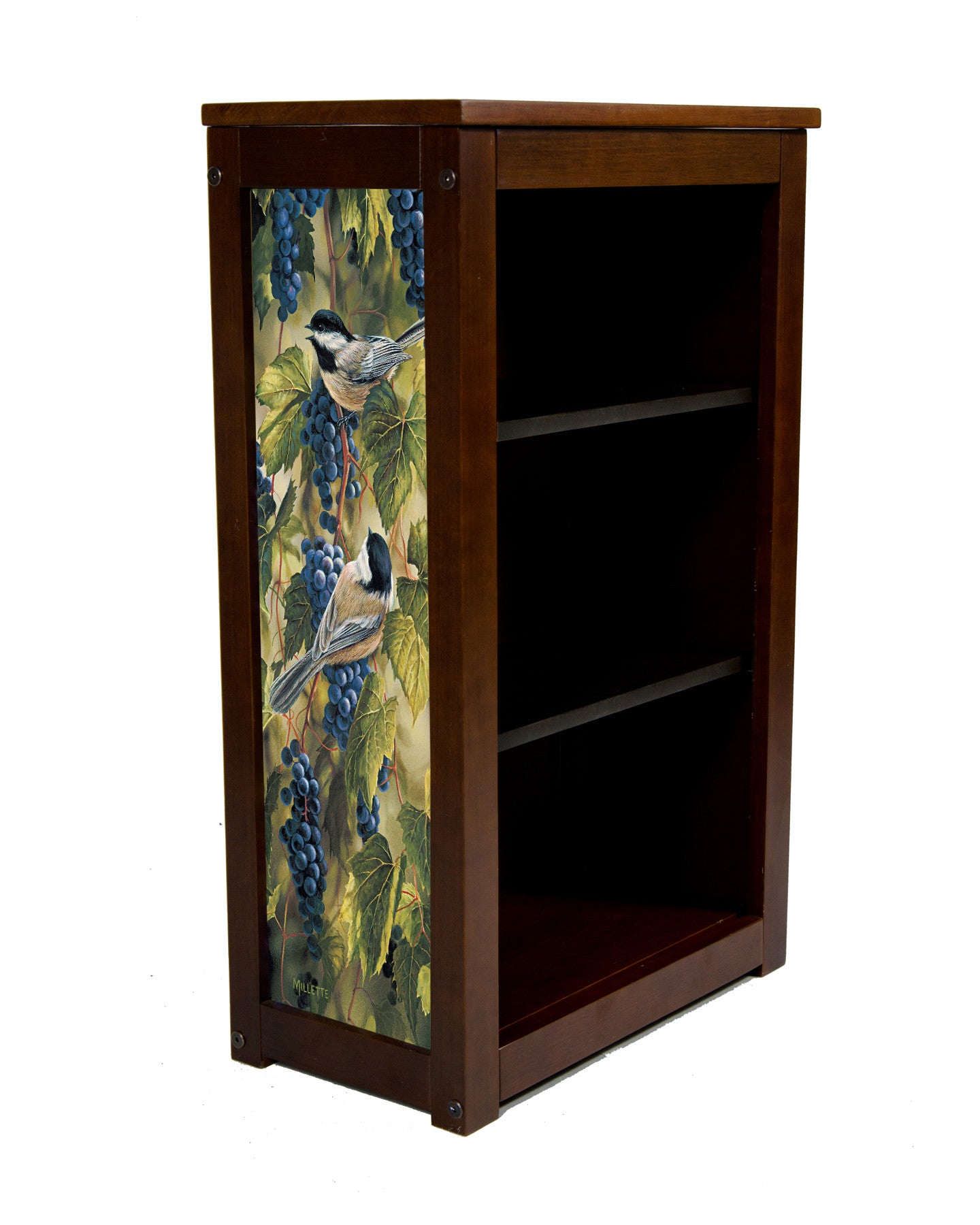 Chickadees book cabinet by Rosemary Millette