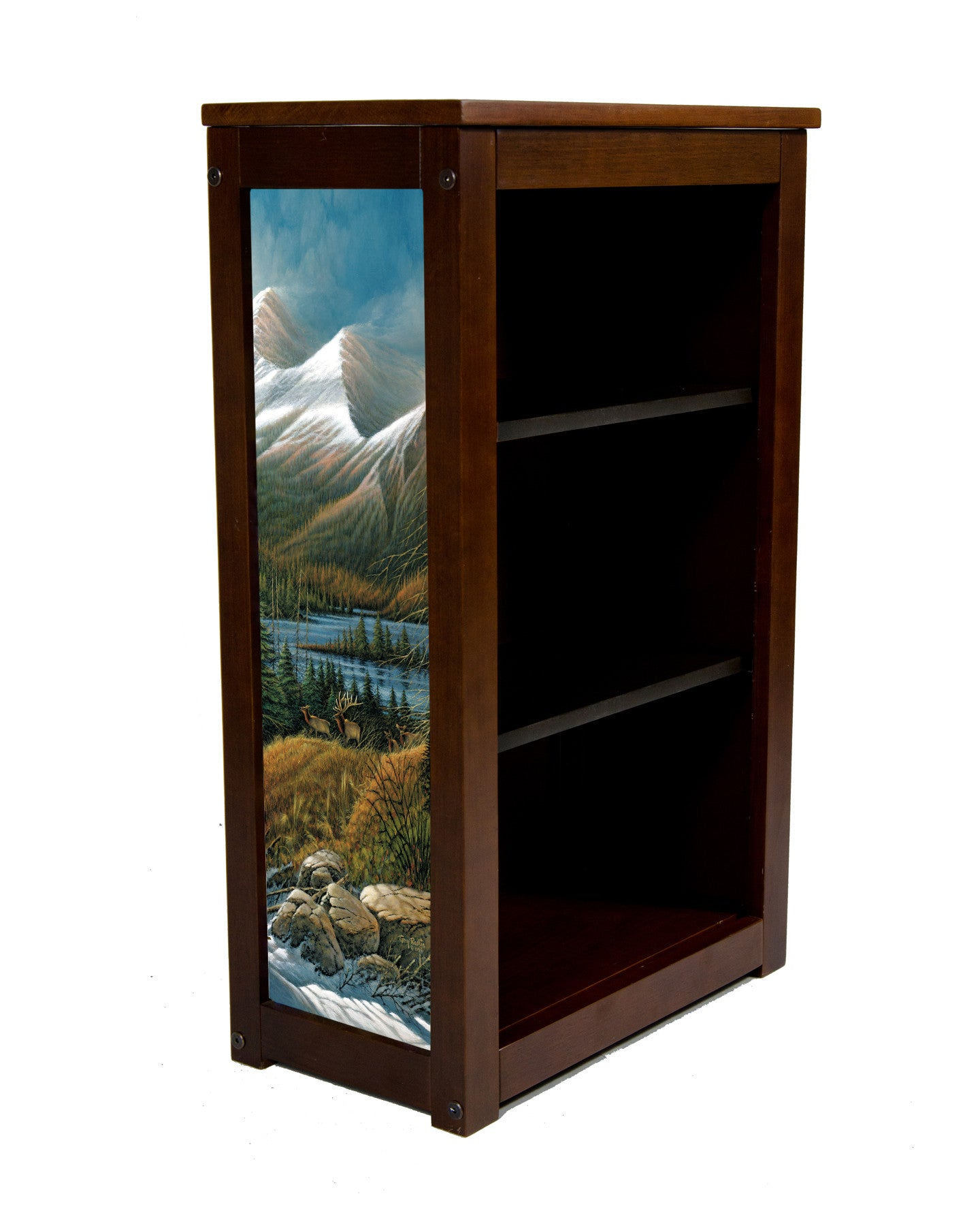 Elk Book Cabinet with Master of the Valley-Art byTerry Redlin