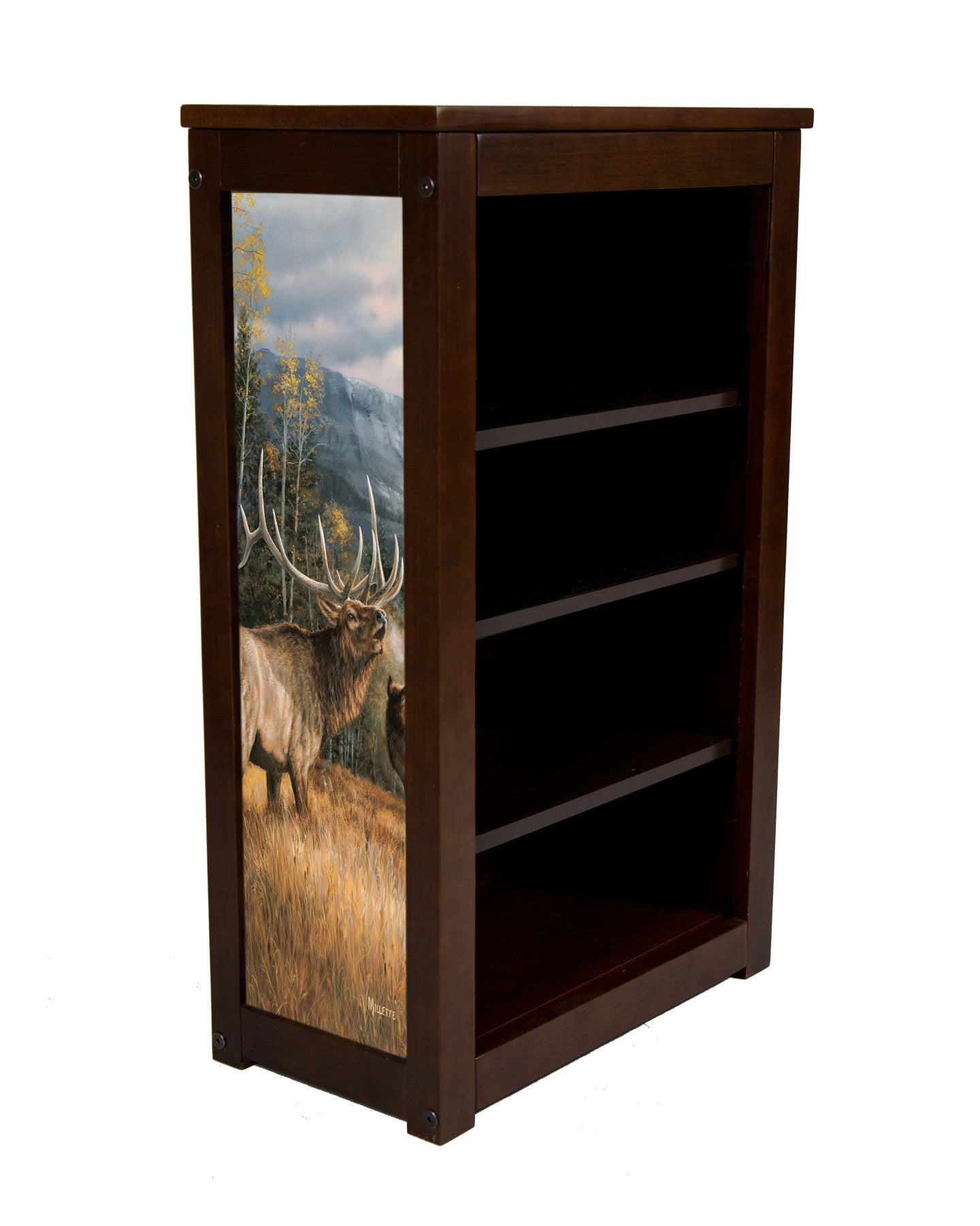 3 shelf book cabinet with elk image