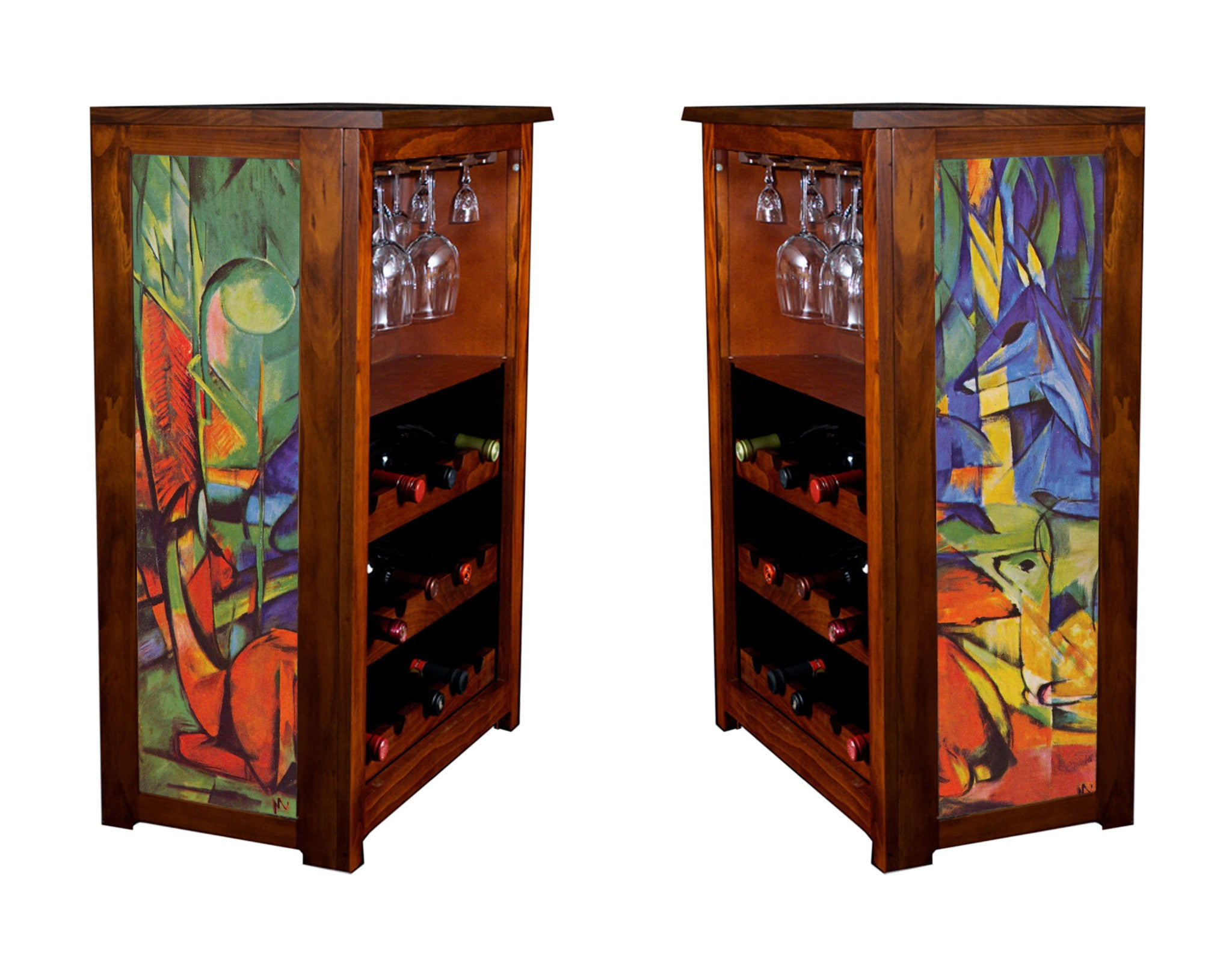 Mark Franz cubist wine cabinet with Deer in Forest