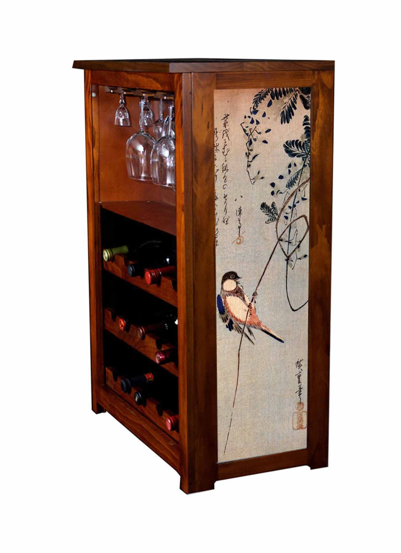 Wine Cabinet with Bird on Wisteria by Hiroshige