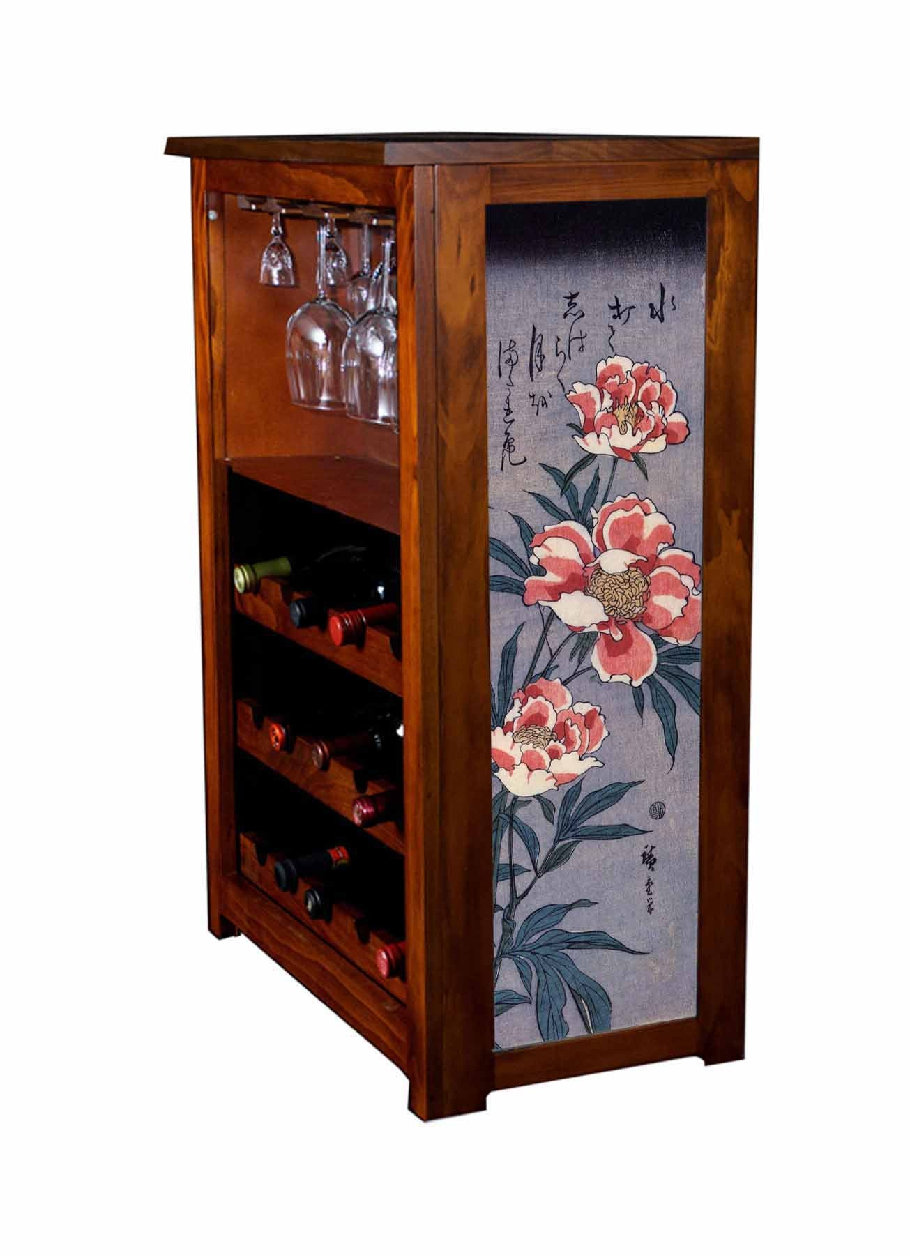 Wine cabinet with peonies by Hiroshige