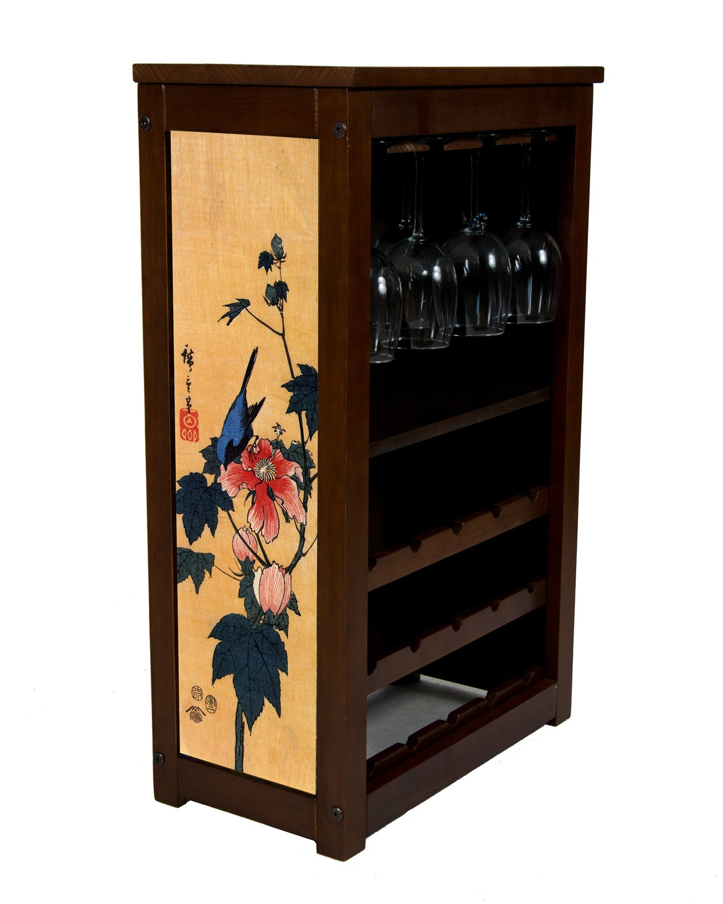 Wine cabinet with Bird over Flowering Hibiscus by Hiroshige