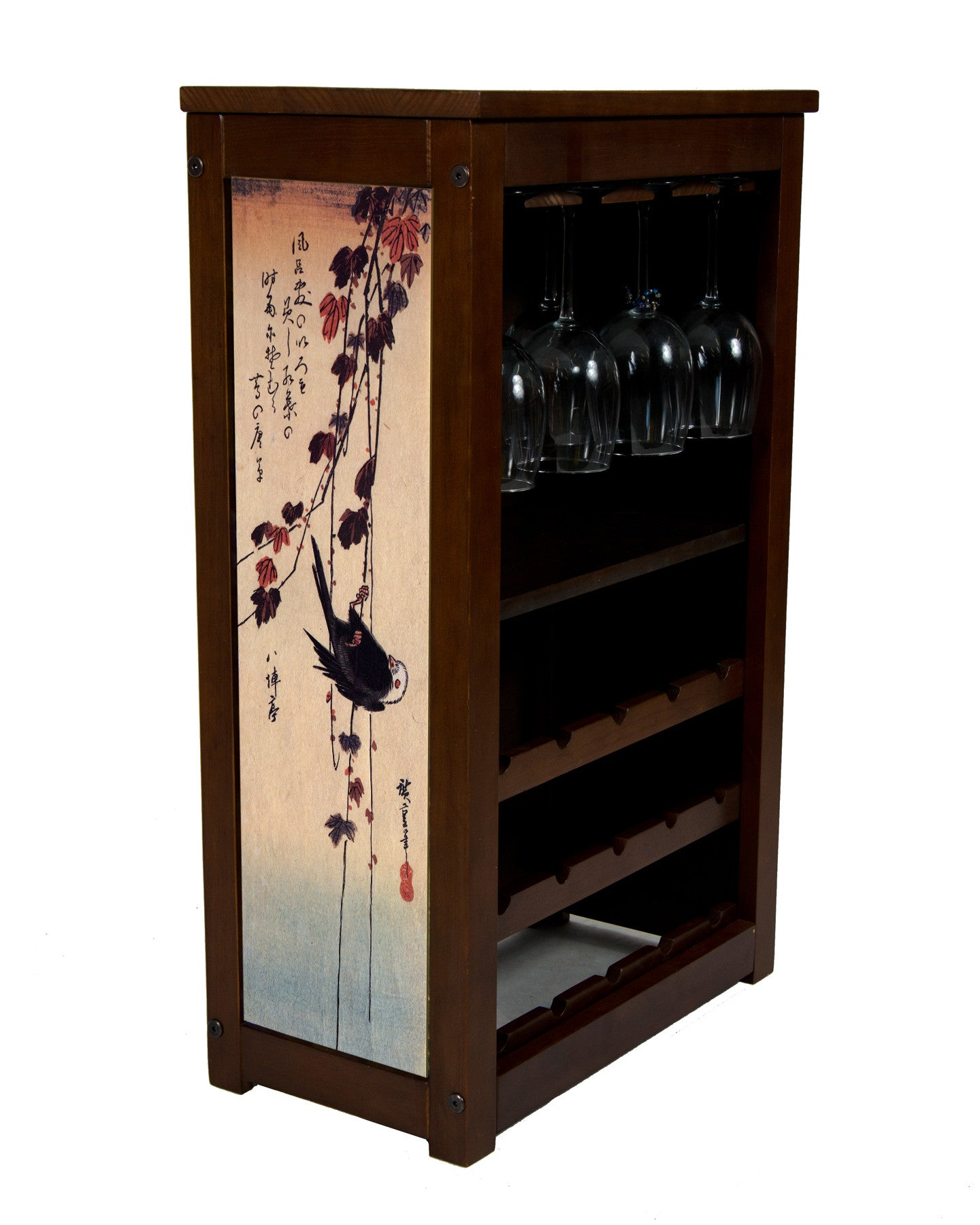 Wine cabinet with blackbird handing on ivy  by Hiroshige