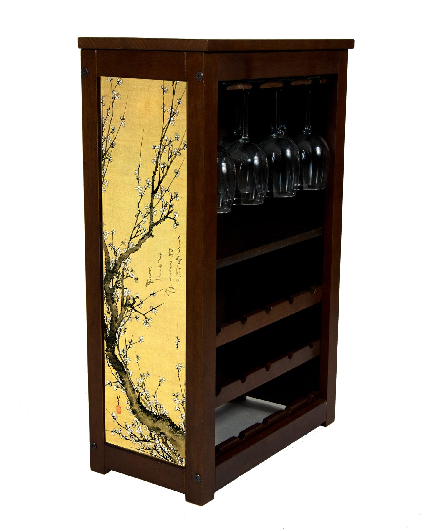 Wine cabinet with flowering plum by Hokusai