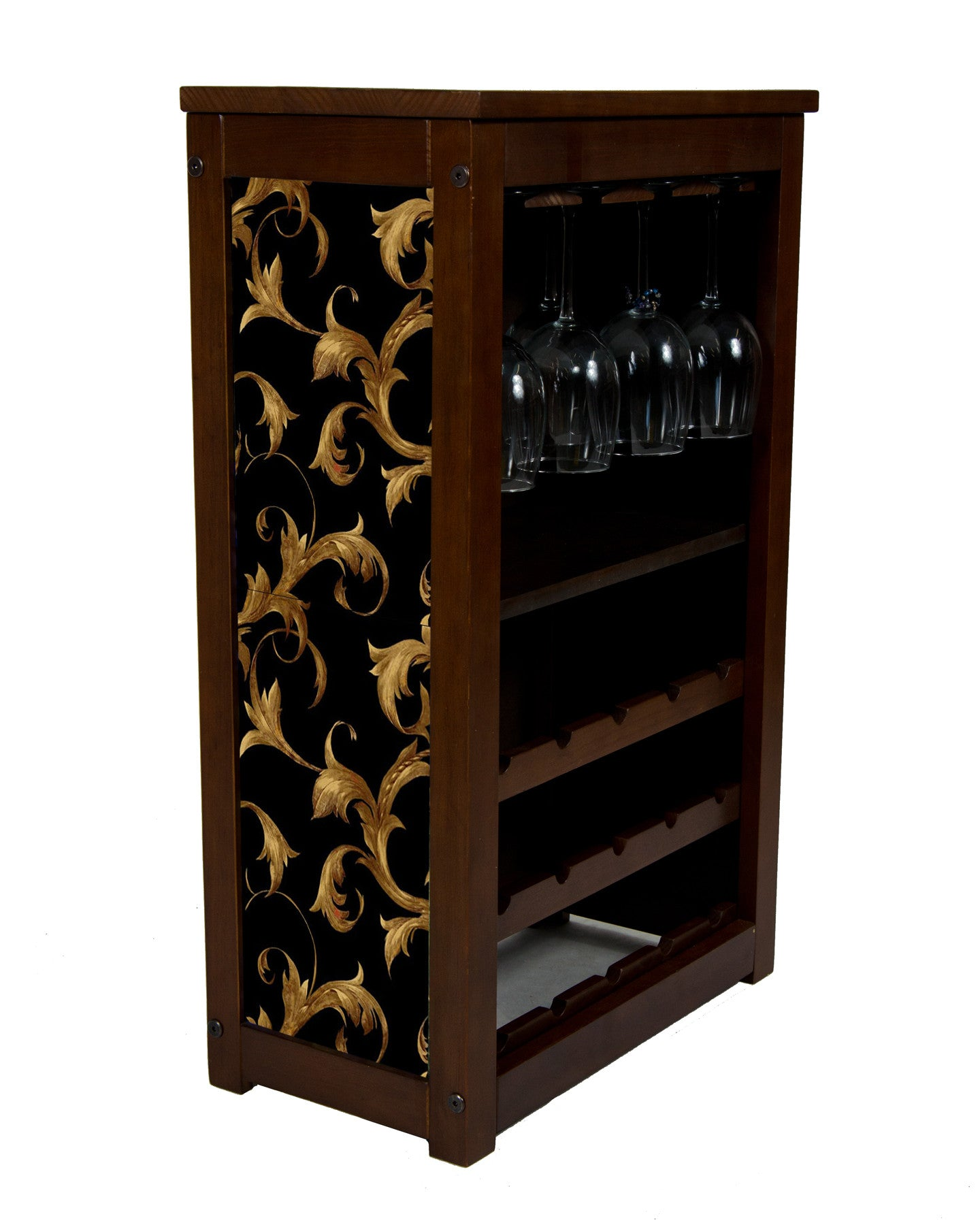 wine cabinet with leaf scroll wallpaper design