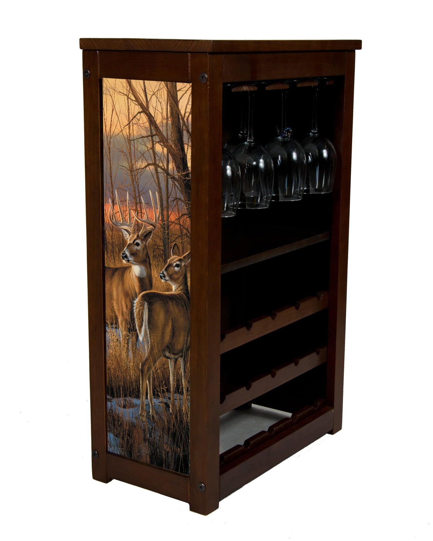 Whitetail deer wine rack with daybreak whitetails by Millette