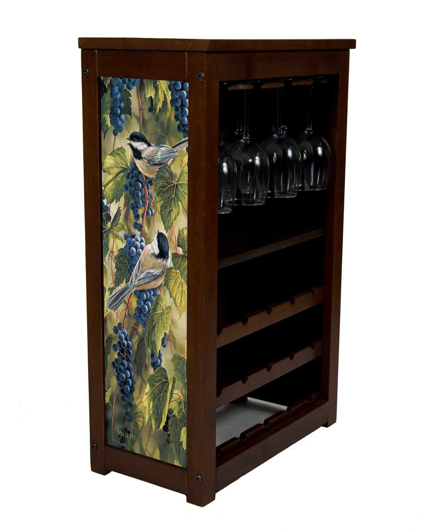 Chickadees Wine Cabinet by Rosemary Millette