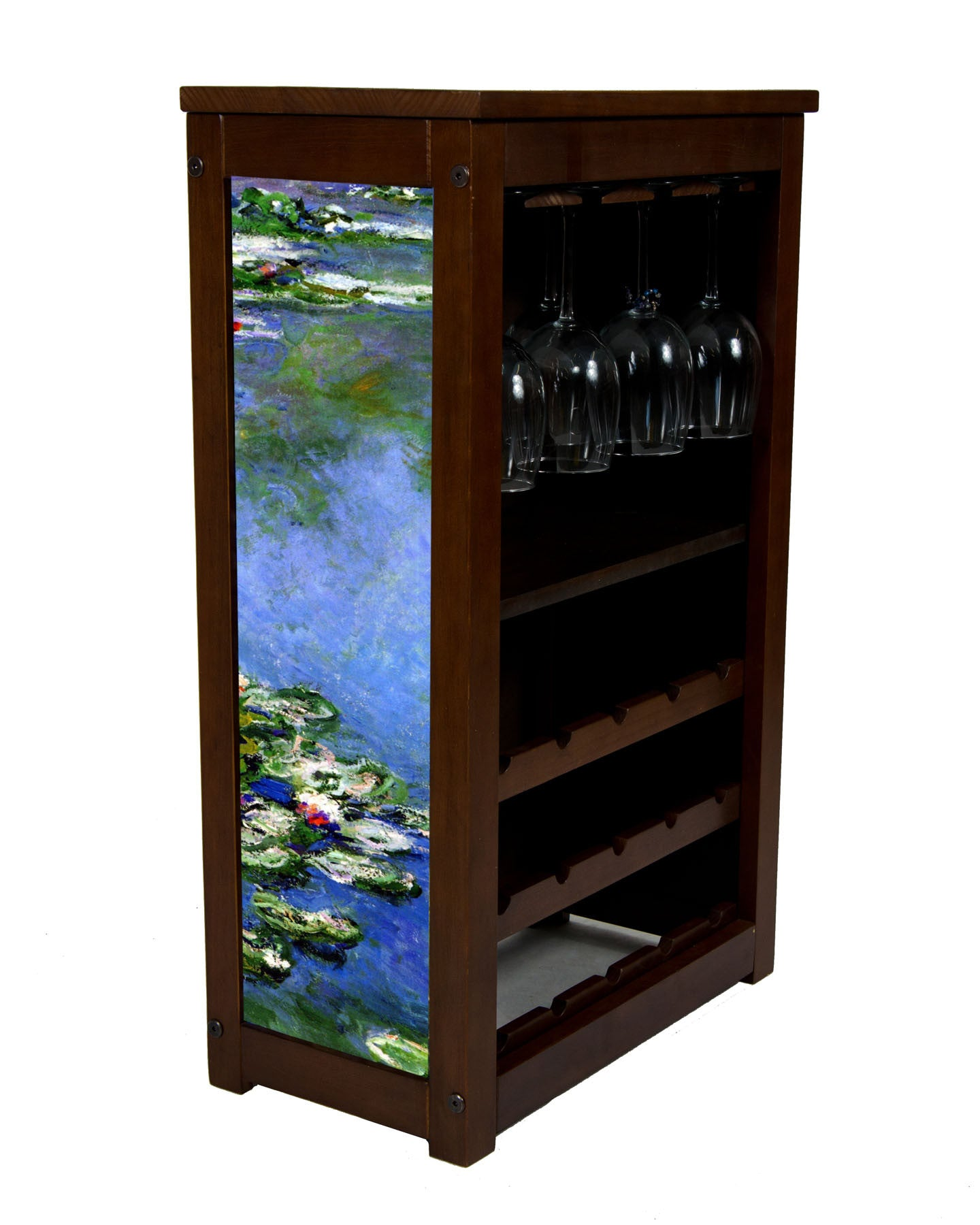 wine cabinet with Monet's Water Lilies