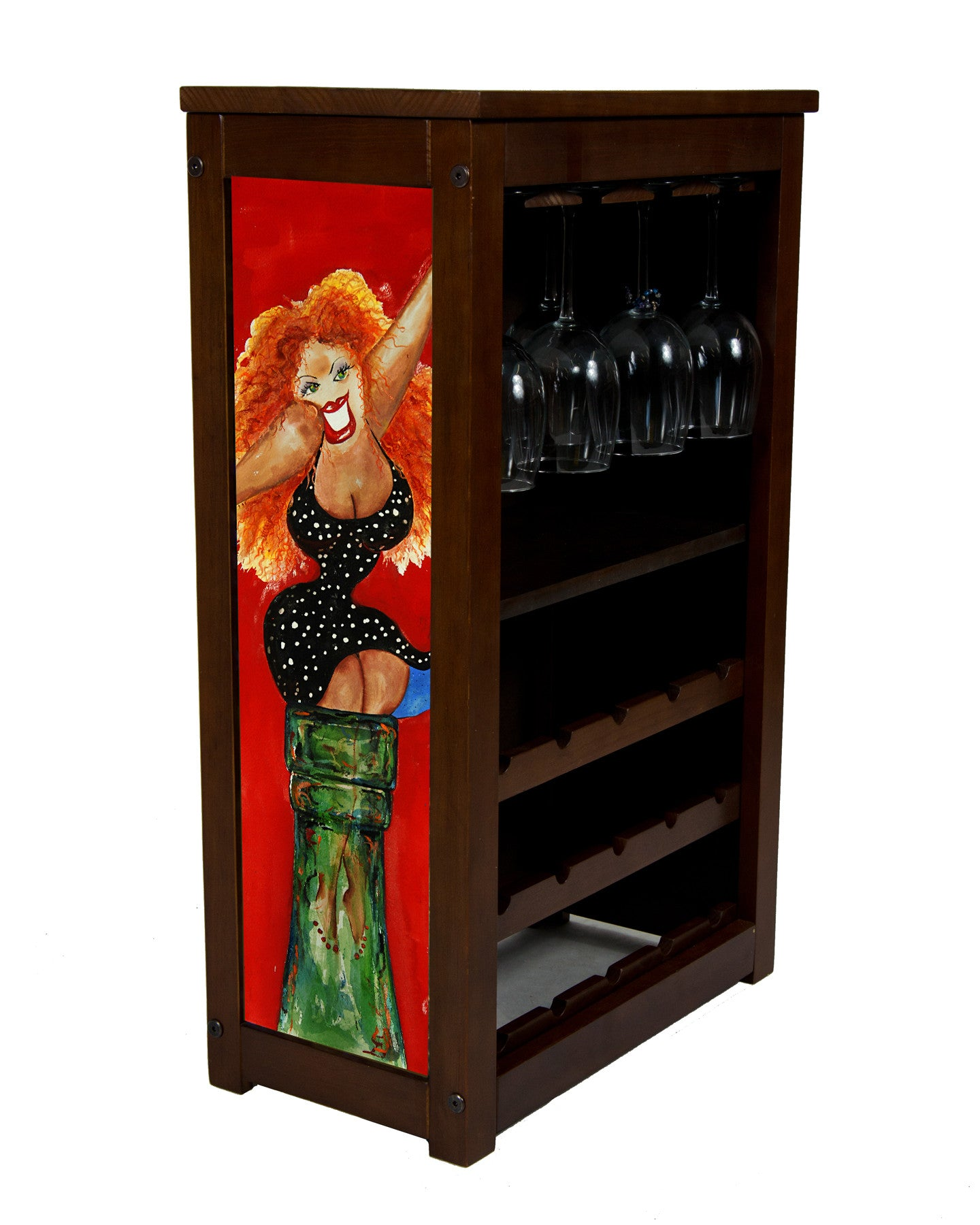 Big Red by Jill Neal on wine cabinet
