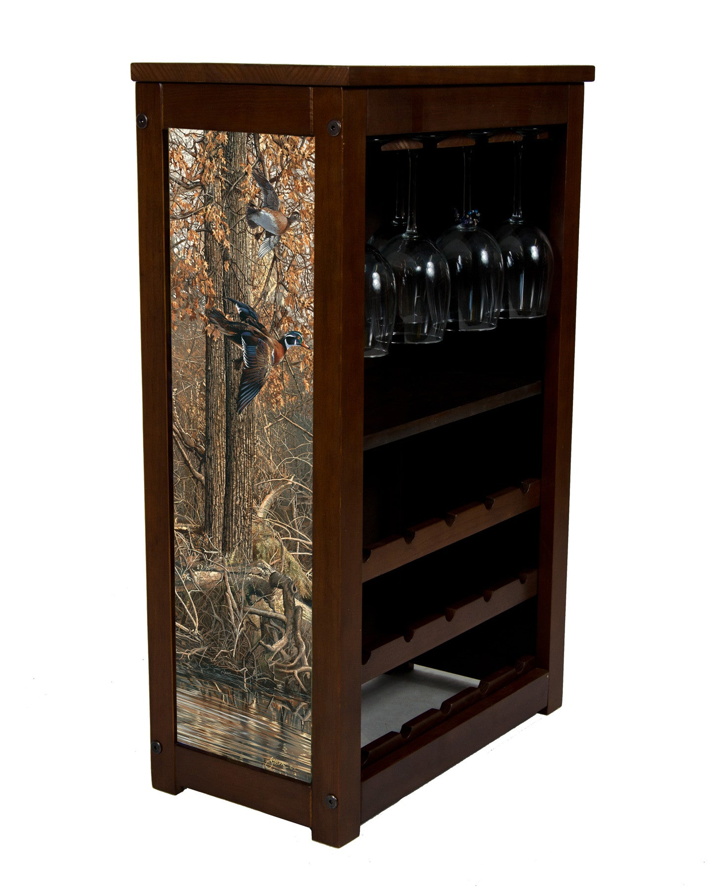 Wood duck wine cabinet with La Grue Woodies