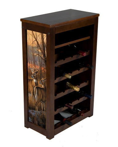 Daybreak whitetails wine cabinet ! 25 bottles and shelf
