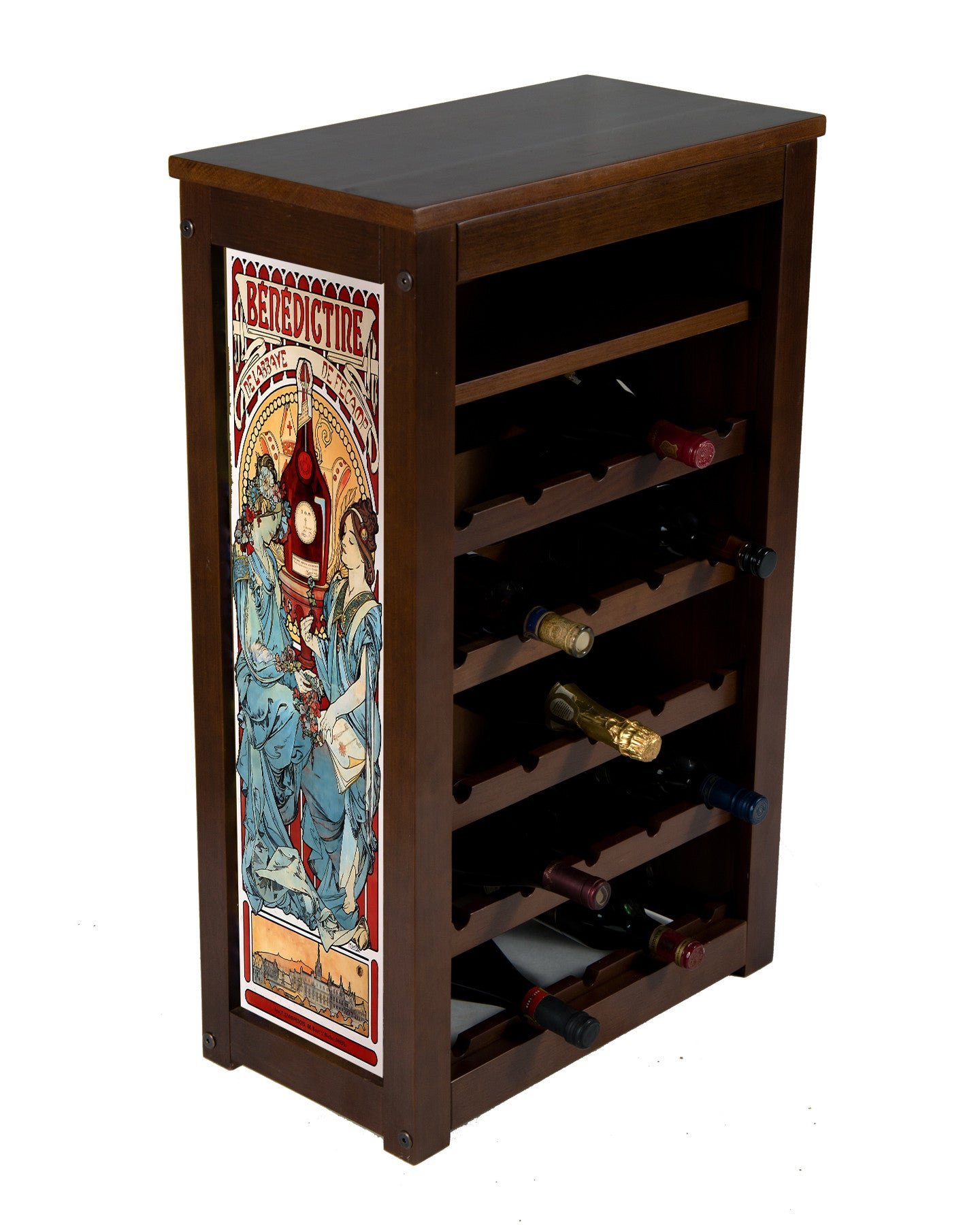 Benedictine liquor Cabinet-25 Bottle with shelf by Alphonse Mucha
