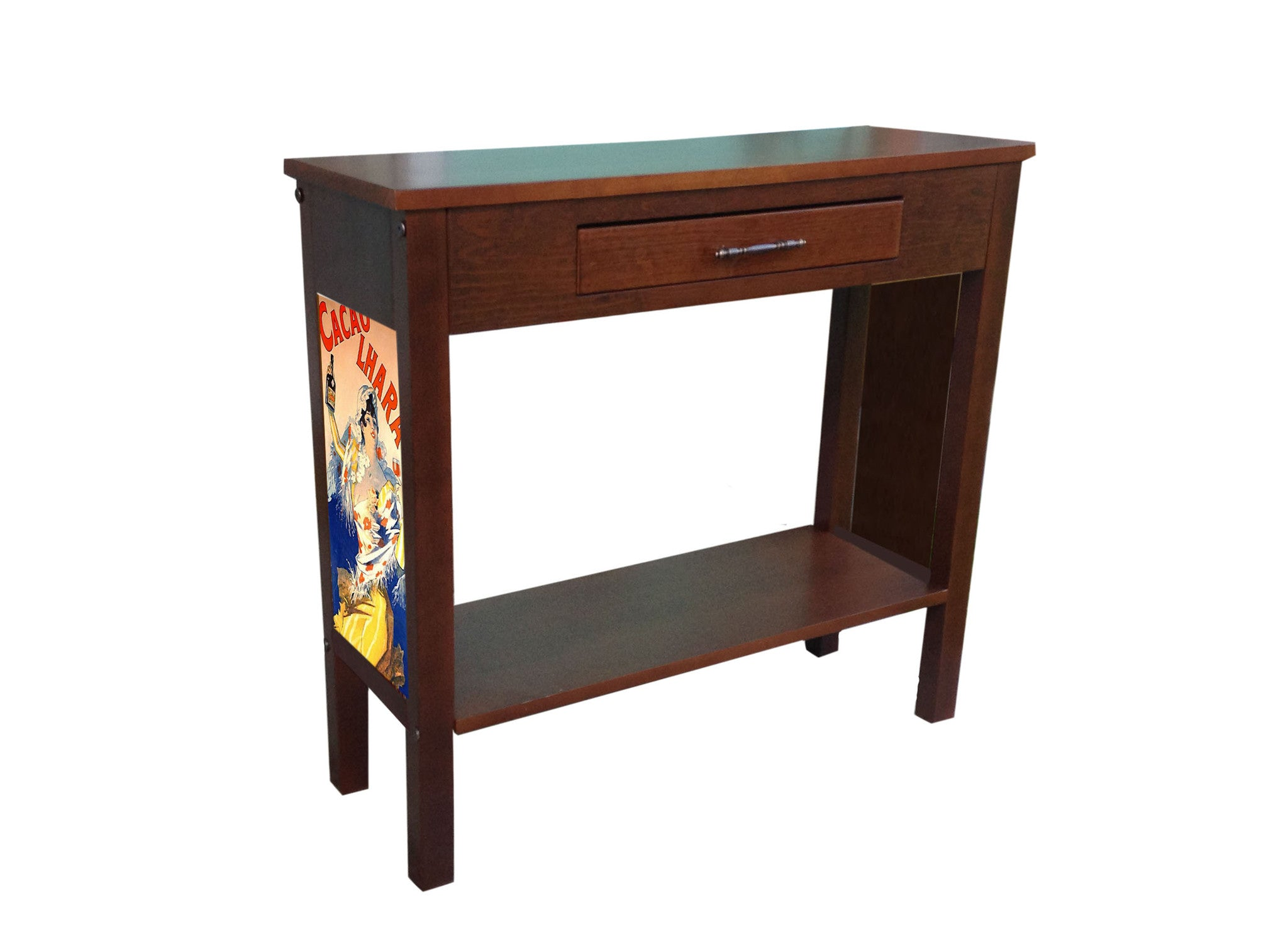 Jules Cheret entryway table with Cacao Lhara