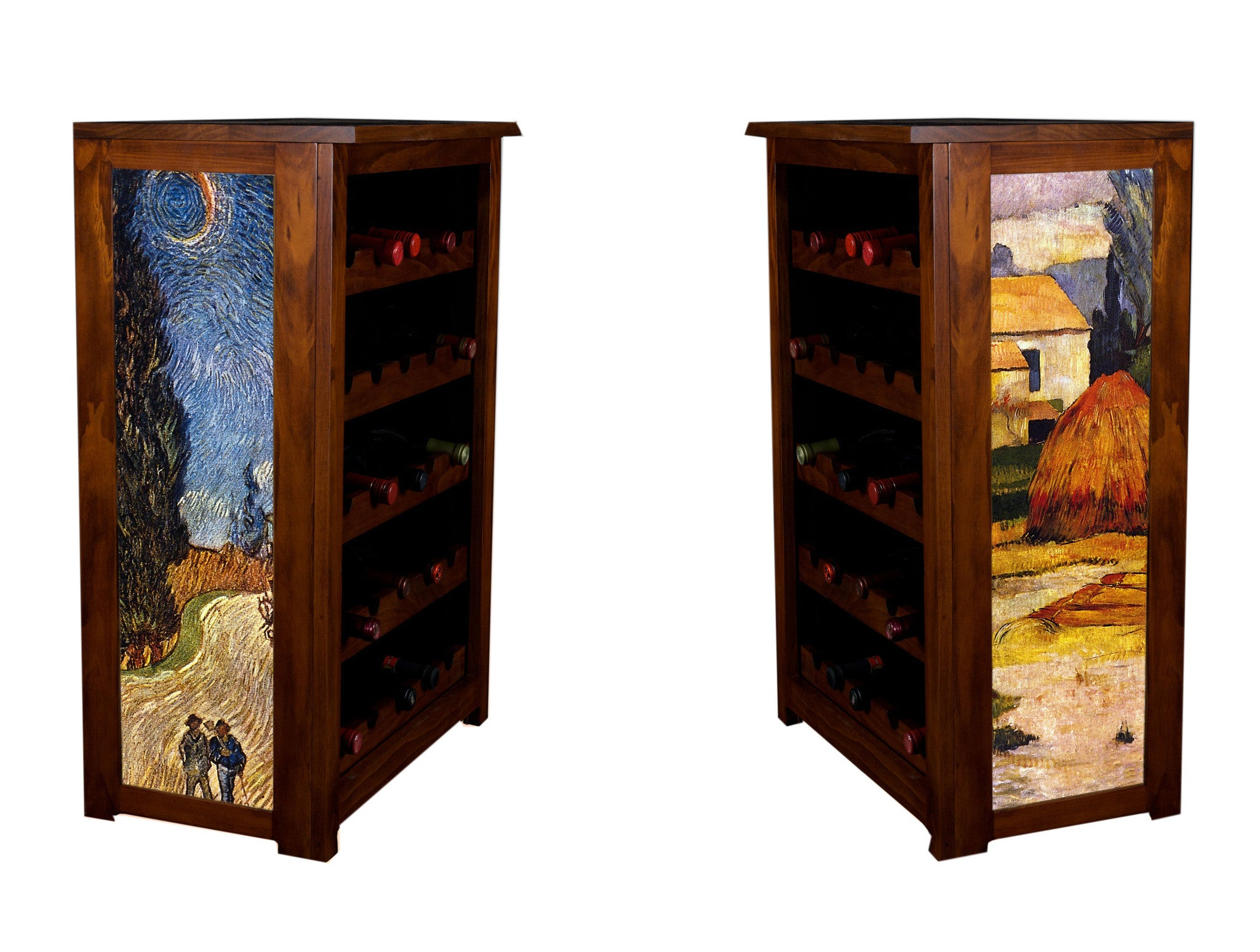Wine Cabinet  Arles and Cypress Road by Gauguin and Van Gogh