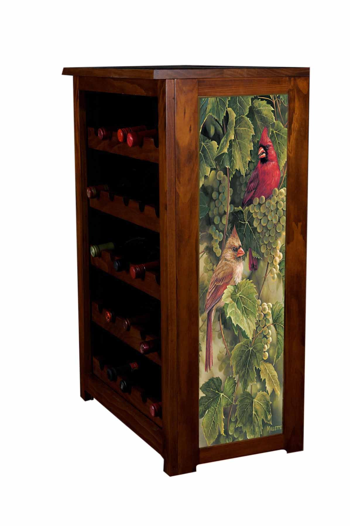Wine Cabinet,Vineyard Cardinals,Rosemary Millette