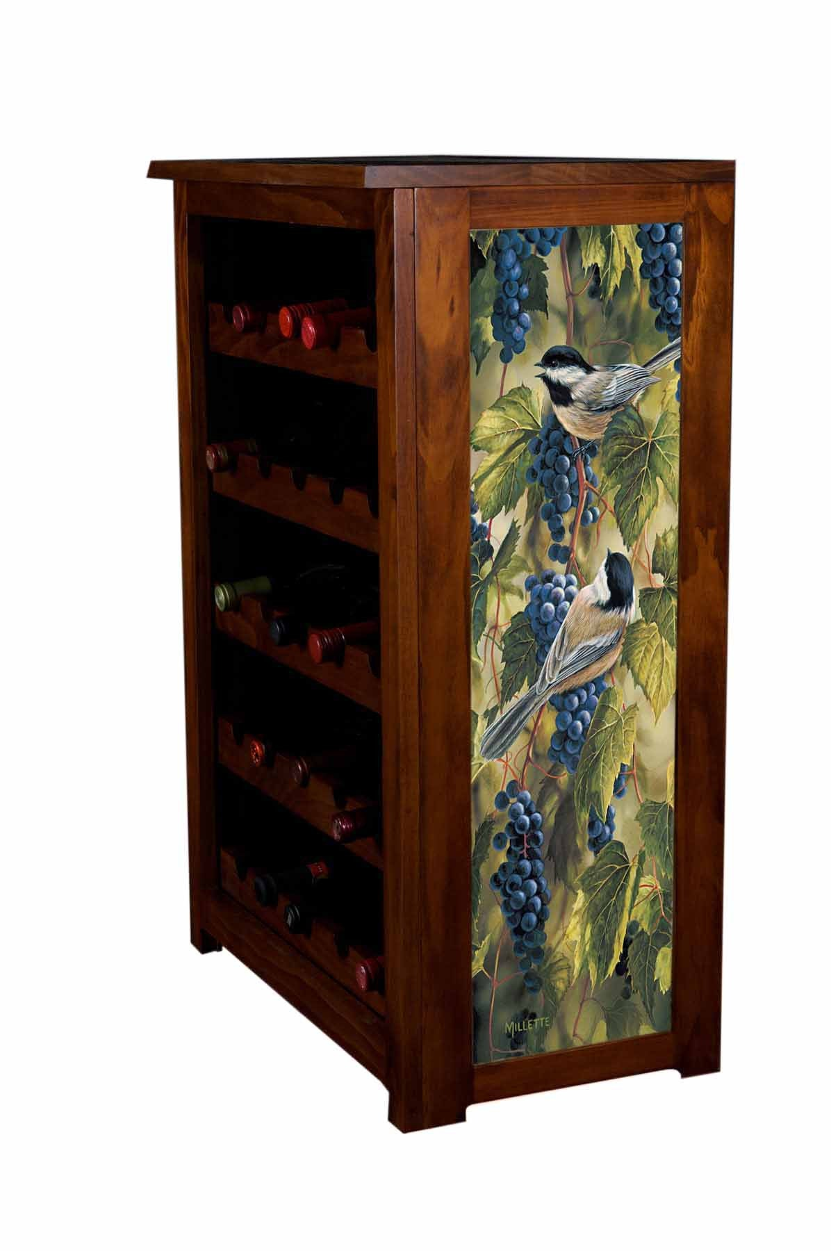 Vineyard Chickadees Wine Cabinet Art by R. Millette