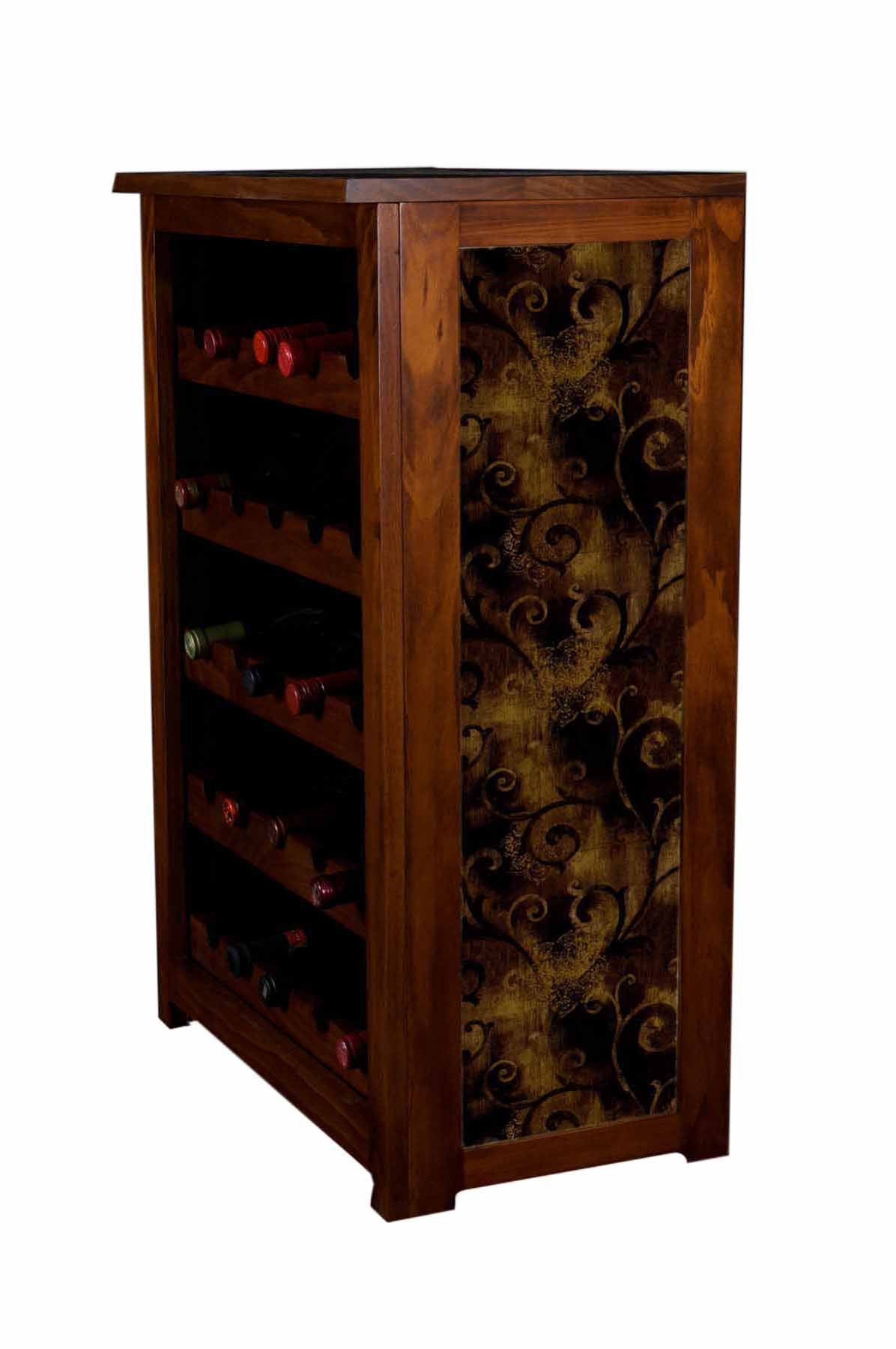 wine cabinet with Iron leaf wall paper design