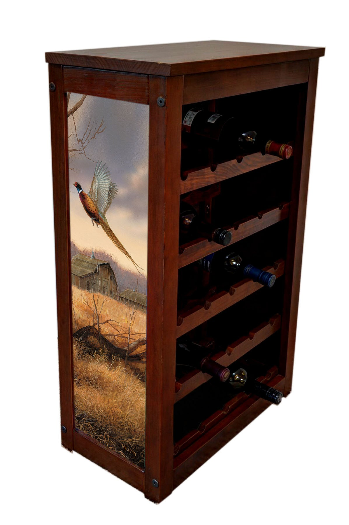 Pheasant Wine Cabinet | Prairie Wings | Rosemary Millette