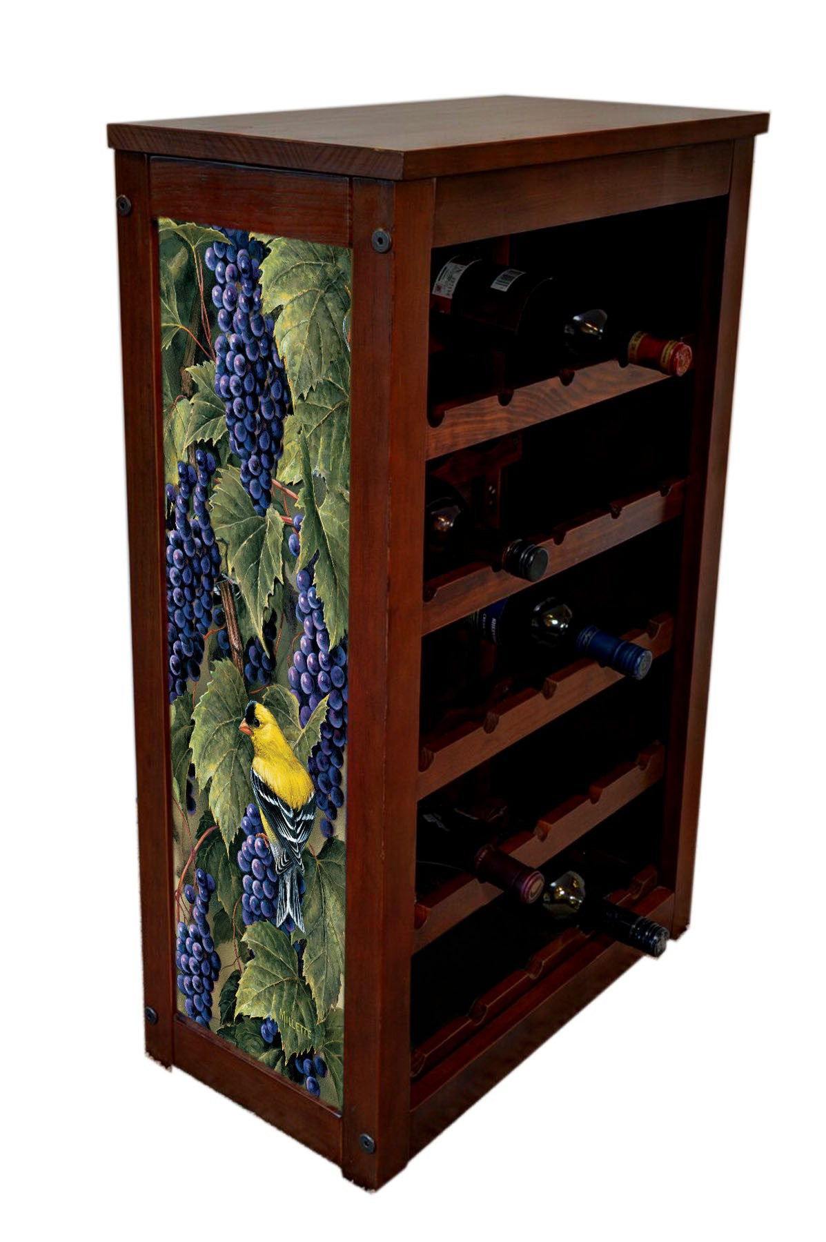 Wine Cabinet | Grapes and Goldfinch | Rosemary Millette