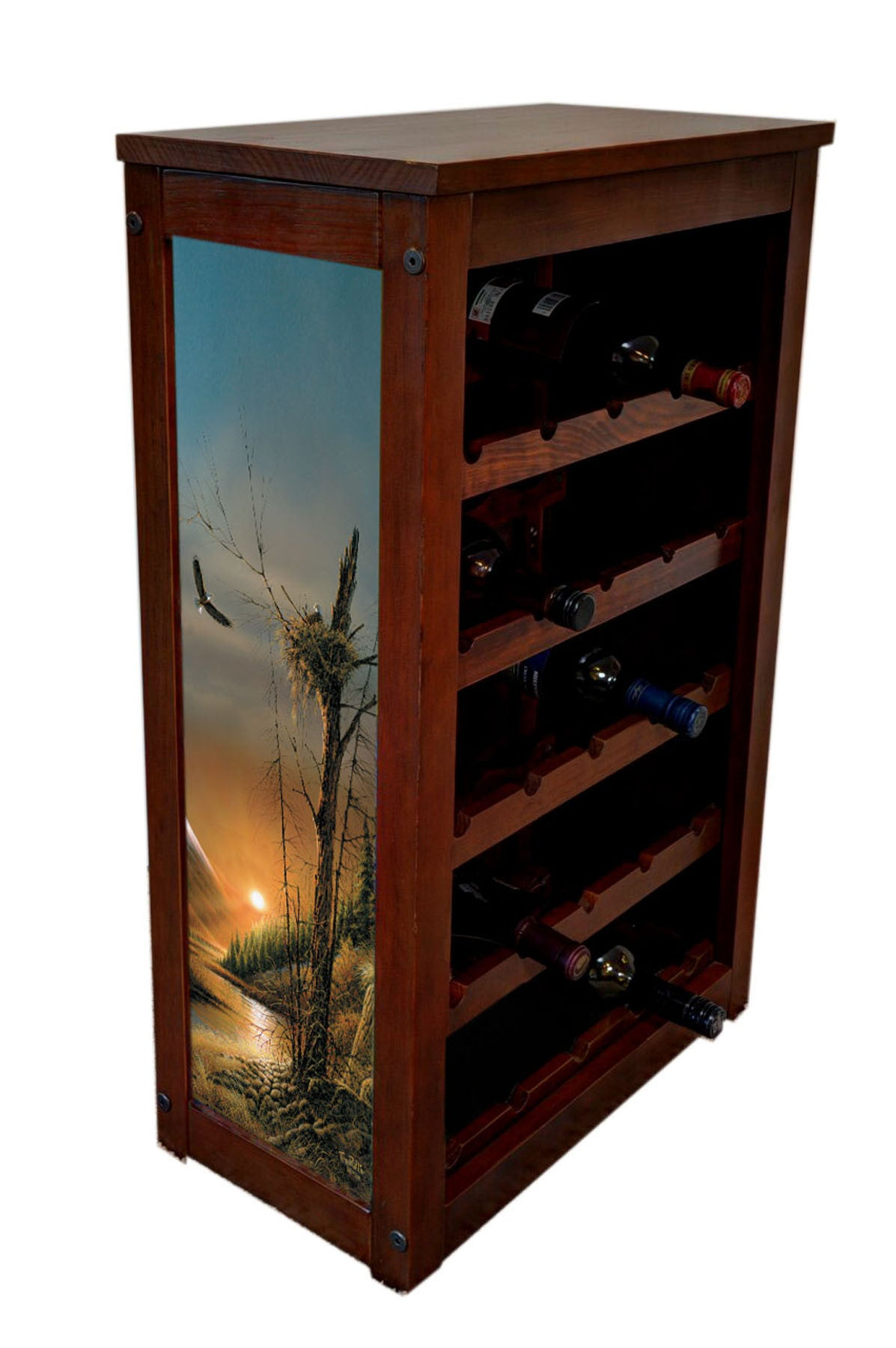 Eagle Wine Cabinet | Flying Free Eagles At Sunset | Art byTerry Redlin