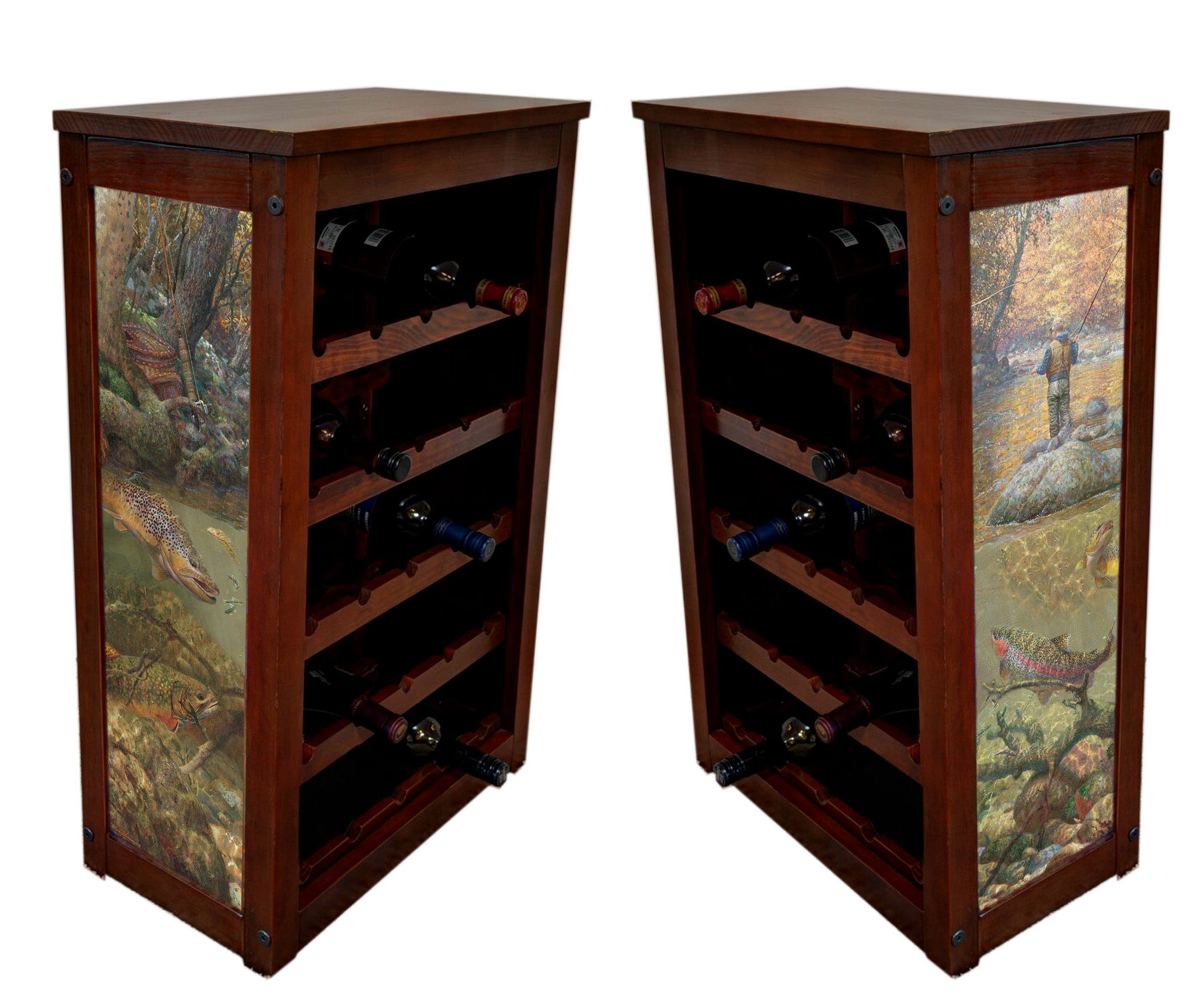 Fly fishing Wine rack with Autumn Dream Day by Mark Sussino